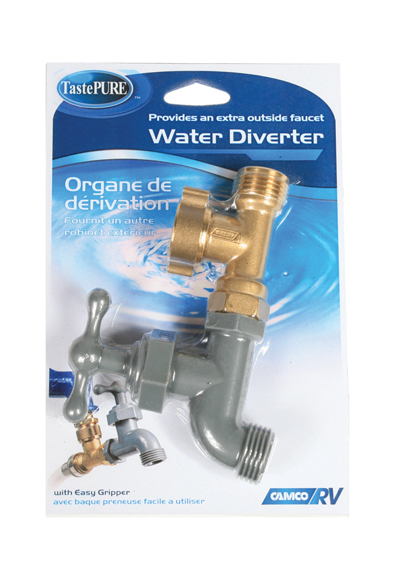 camco rv camco water diverter valve is made of lightweight celon plastic tee is made of long lasting brass copper threaded faucet attaches to a standard garden hose allowing you to