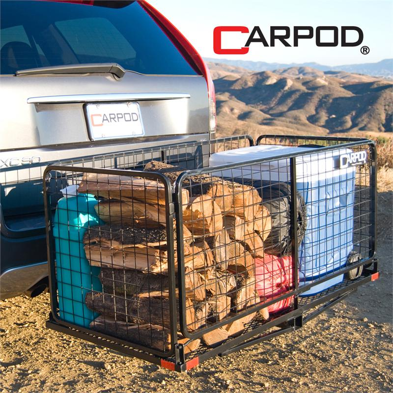 a carpod cargo carrier basket allows you to carry an additional 13 14 cubic feet with you on your camping shopping or day trips the hitch basket is