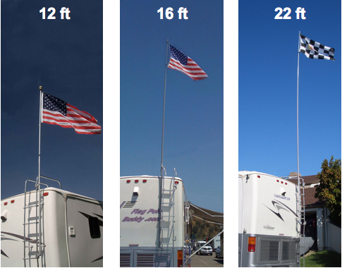 22 Extended Flagpole Buddy Kit W Flag Great For Your Rv