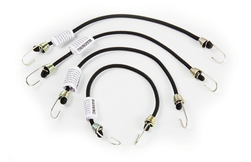 Camco 51003 Cotton Covered Multi-Strand Rubber Bungee Mini Stretch Cords-4  Pack