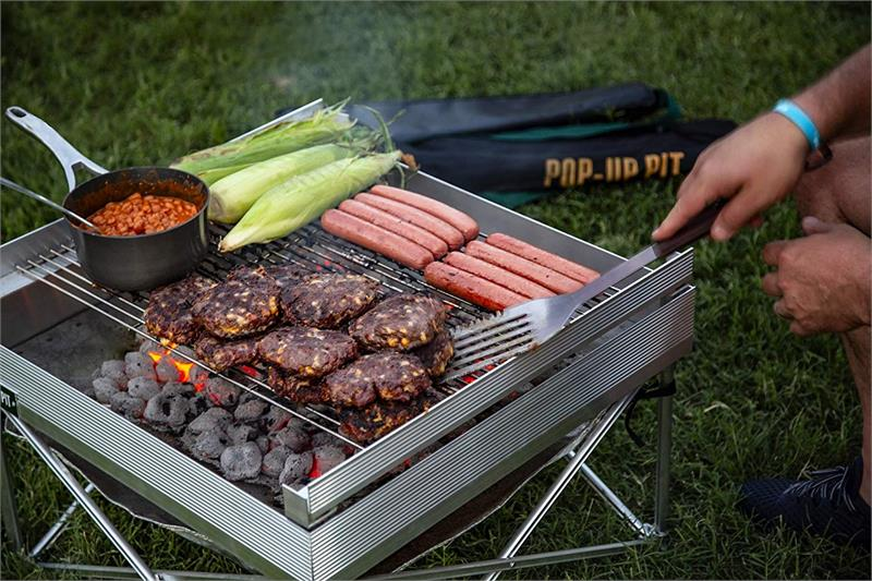 Campfire Defender Pop Up Fire Pit Heat Shield And Trifold Grill Grate