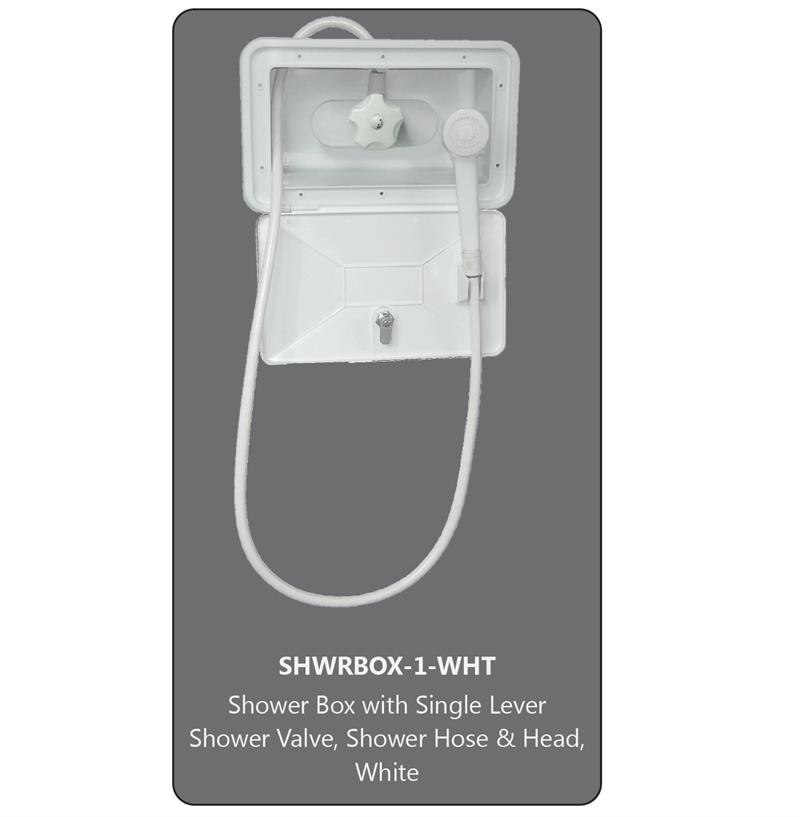 American Brass SHWRBOX-1-WHT Outdoor Shower w Hose and Head - White